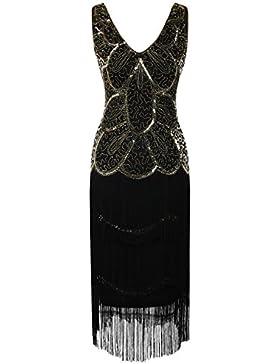 Kayamiya Damen 1920er Vintage Inspirert Perlen Pailletten Verschönert Fransen Flapper Kleid