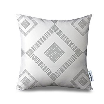Popeven Gray Cushion Cover Grey Geometric Pillow Cases for Sofa Square Geometry Decorative Pillow Cover with Zipper Square Canvas Accent Pillow Sham Couch Cushion Cover Home Decor Pillowcase
