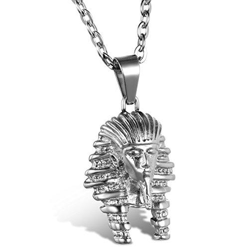 JewelryWe Schmuck Edelstahl Ägypten Ägyptisches Pharao Anhänger mit 55cm Kette, Halskette für Herren Damen, Silber