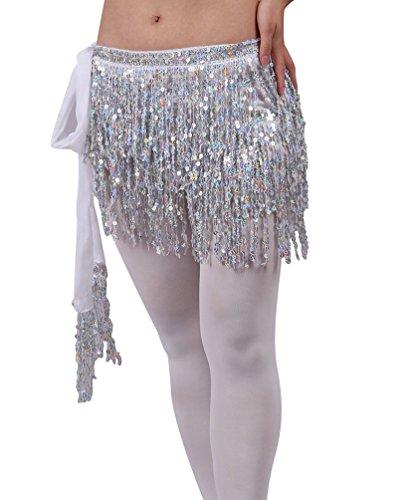SunWanyi Damen Belly Dance Bauchtanz Kostüm Tribal Triangle Pailletten Quaste Hüfttuch Rock Gürtel