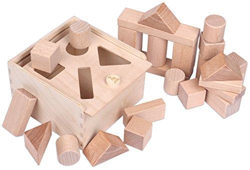 CreaBLOCKS 2-in-1 Steckbox / Formensortierspiel / Sortierbox Baby - Bauklötze Buchenholz Natur ohne Farben naturbelassen
