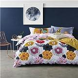 Kexinfan Bettbezug Blumen Drucken Bettwäsche 100% Baumwolle Queen Full Twin Size Bettlaken Kissenbezüge Bettbezug 4 Pc-Betten, 2023336,180 X 210 Cm Double Einstellen