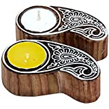 Master's Trail Wooden Tealight Holder Set Of 2 / Wooden Printing Stamp Tea Light Holder/Wooden Printing Block Art /Tlight /Tealight /Wooden Candle Holder/Candle Stand/ Tlight Holder /Tlight Set /Diwali Gift/ Home Decor/ Accessories/ Lighting Ideas/ Printi
