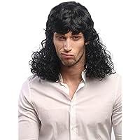 WIG ME UP ® - 60893-P103 Peluca hombres mujeres Carnaval rizado mójol estrella de cine cantante quinqui macarra negro