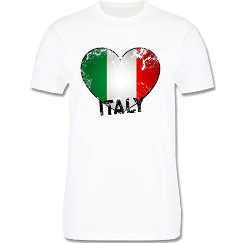 EM 2016 - Frankreich - Italien Herz Vintage - Herren Premium T-Shirt Weiß
