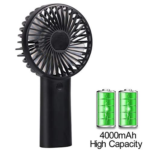 Mini Handventilator Tragbarer Lüfter Elektrischer Ventilator mit 4000 mAh Aufladbarem Batterie, Bis zu 6-10 Stunden Arbeitszeit, Handventilator Batteriebetrieben für Haus, Büro, Reise und im Freien