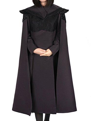 (KeySmart Schwarzes Kleid und Umhang von Daenerys Targaryen aus Staffel 7, Größe: M)