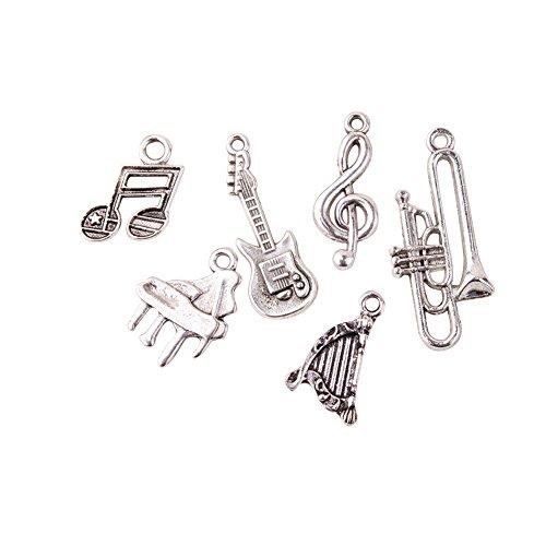PandaHall Elite 30pcs/5 sets 6 Stili Ciondoli charms pendanti in Lega a Tema Strumenti Musicali per braccialetti collane Bigiotteria fai da te, Senza Piombo, 17~35x10~16x1~2.5mm, Foro: 1~3mm