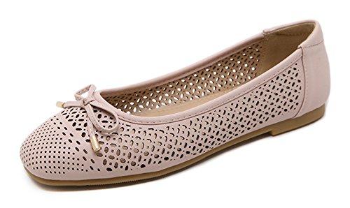 Tomsent 2017 Damen Süßen Stil Bowknot Mokassins Hausschuh Erbsen Schuhe Flache Loafers Frühling Sommer Hohl Schuhe Flat Rosa EU 41 (Niedrige Womens Keil)