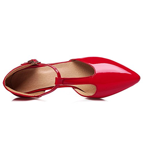 Zanpa Donna Mode T Strap Sandali 1 # Rojo