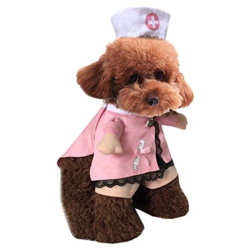 (Shirasawa Haustier Hund Katze Halloween Kostüm Arzt Krankenschwester Kostüm Hund Jeans Kleidung Katze lustige Bekleidung Outfit Uniform (Krankenschwester,XS))