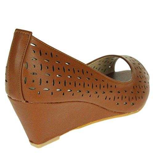 Escritório Cunha Senhoras Salto Trabalho Marrom Mulheres Tamanho Festa Casual Sandália Noite Peep Toe Detalhe Entalhe Sapatos 1w40Yqp