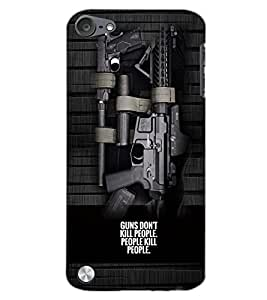 PrintDhaba GUNS D-6164 Back Case Cover for APPLE IPOD TOUCH 5 (Multi-Coloured)
