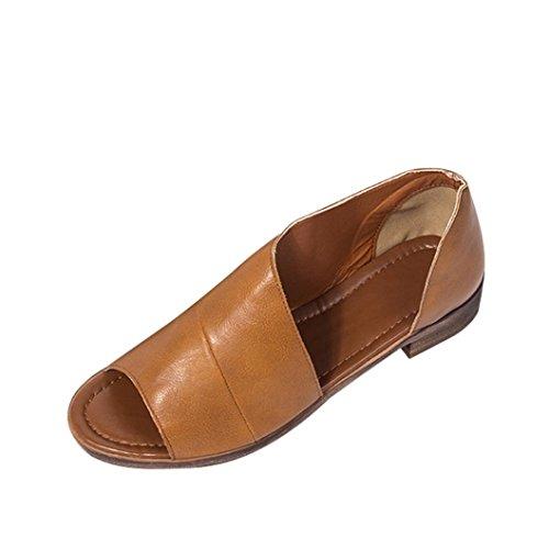 Preisvergleich Produktbild Ansenesna Sandalen Damen Sommer Leder Absatz Peep Toe Hinten Geschlossen Vintage Römersandalen Outdoor Schuhe (37,  Gelb)