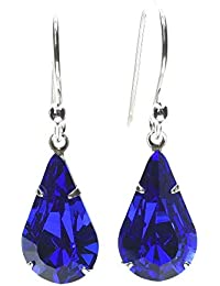 pewterhooter 925 Sterling Silver drop earrings expertly made with Majestic Blue teardrop crystal from SWAROVSKI. London Box