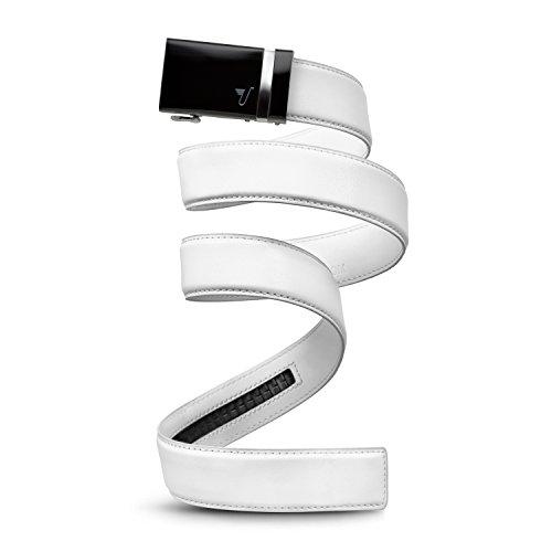 Mission-Cinghia a cricchetto da uomo, in pelle, con passante per cintura, collezione 40 mm Black Buckle & White Leather Large