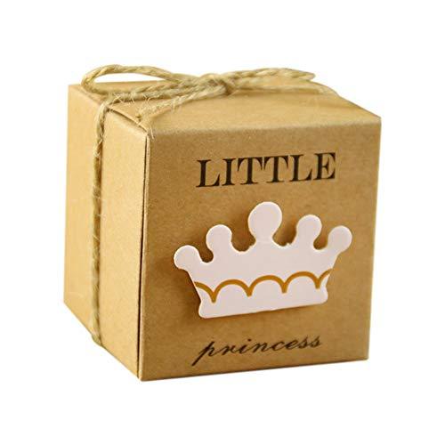 (Zedo 50 Teile / satz Prince Princess Crown Pralinenschachtel Vintage Kraft Paket Hochzeitsbevorzugungskästen Überraschungsgeschenke Aufbewahrungsbox DIY Hochzeitsfest-Dekoration size 5.3*5.3*5.3CM (B))