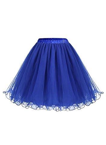 ALAGIRLS Femme ALA80001 Jupon Sous Robe/Jupe années 50 vintage Crinoline Petticoat Rétro en Tulle Bleu Royal 2XL