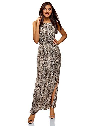 oodji Collection Damen Maxi-Kleid aus Fließendem Stoff, Grau, DE 38 / EU 40 / M