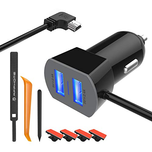 APPHOME Caricabatteria da auto Dual per Garmin Nuvi, 12V / 36V Garmin GPS e adattatore per camma Dash Cam Cavo Mini USB incorporato con cavalletto, nastro Hook & Loop, penna capacitiva e fermacav