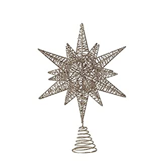 Creative-Co-op-Christbaumspitze-in-Sternform-mehrdimensional-mit-goldfarbenen-Glitzer-Metall-Ornamenten