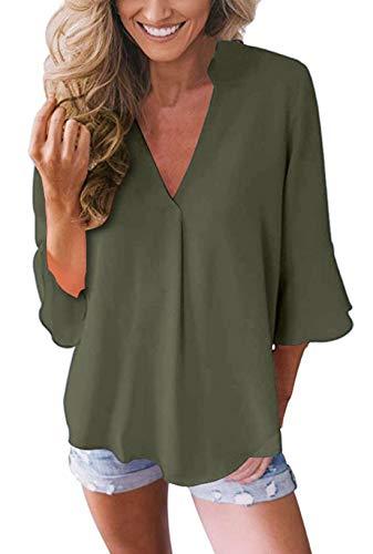 Damen Chiffon Blusen Elegante 3/4 Glockenhülse Bluse Tunika Oberteile T-Shirt V-Ausschnitt Tops Armeegrün L -