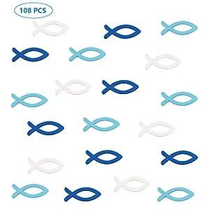 Deko Fisch Holz Fische Streudeko Taufe Tischdeko Junge Blau Weiß,Tischdeko Konfirmation Kommunion Verzierung