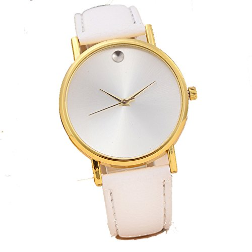 Keepwin Damen Vintage Uhren Frauen Simple Solid Dial Armbanduhr Analoges Quarzwerk Lederuhr (White GD)