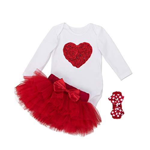 YuanDian Baby Mädchen 3tlg Kleid Weihnachten Bekleidung Set Neugeborenes Outfit Kleinkind Weihnachtskostüm Strampler Body + Tütü Rock + Stirnband Babykleidung 2# Herz 6-12 Monate
