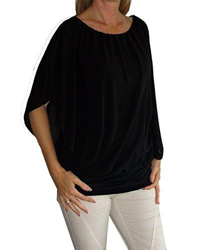 Weit geschnittene Chiffon-Bluse, Rundhals-Ausschnitt, Kurzarm, Uni-Größe - passt von Gr. 36 bis 44 , schwarz