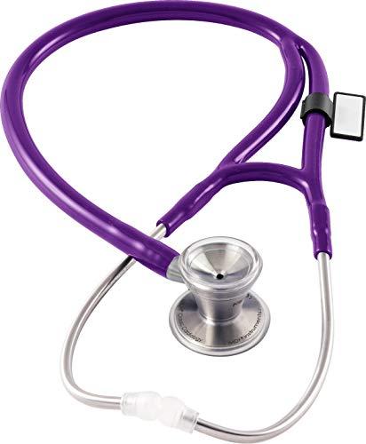 MDF® Klassisches Kardiologie-Zweikopf-Stethoskop - mit Bruststück und Kopfteil aus rostfreiem Stahl (MDF797) (Lila)