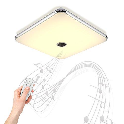 Dimmbare Deckenleuchte mitFernbedienung und Bluetooth Lautsprecher 36W fürWohnzimmer,Schlafzimmer,KücheundEsszimmer(Silber) JDONG