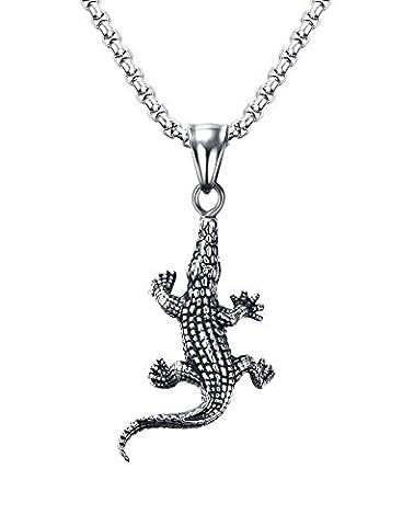 Vnox acier inoxydable pendentif de crocodile hommes punk biker bijoux en argent,chaîne gratuite