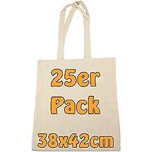 Baumwolltasche Jutebeutel unbedruckt mit zwei langen Henkeln natur 38x42cm 25 Stück