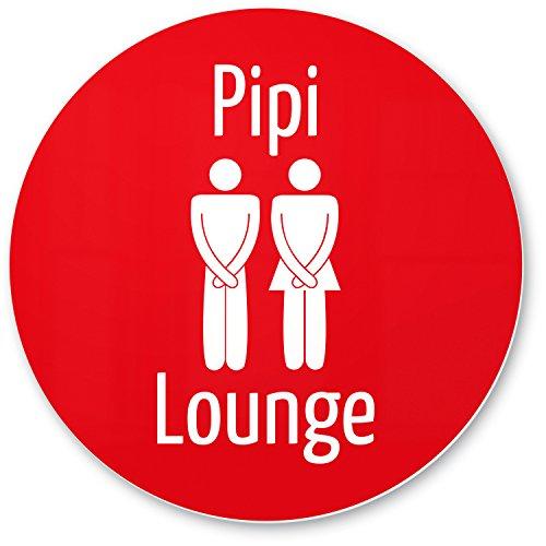 Pipi Lounge Deko WC Schild rot (20 x 20 cm), Witziges Dekoschild - lustige Wanddeko und Türschild für die Toilette, Gäste WC, Gästetoilette, Besuchertoilette - Kloschild Einladung Gäste