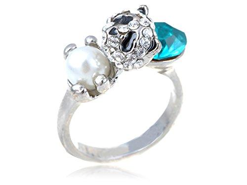 Panda Verkauf Kostüm Für - Alilang Adjustable Silber Farbton Aqua Blau Strass Perlen Farbtone Panda Ring