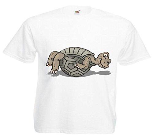 Motiv Fun T-Shirt Schildkröte auf Zurück Cartoon Spass Kult Film Top Motiv Nr. 12846 Weiß
