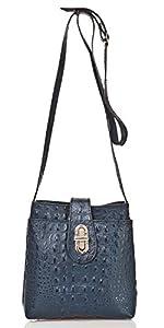 italienische Damen Umhängetasche Sydney aus echtem Leder in indigo blau, Made in Italy, Handtasche 20x21cm
