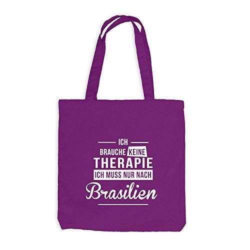 Jutebeutel - Ich Brauche Keine Therapie Brasilien - Therapy Urlaub Brazil Magenta