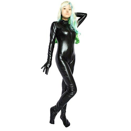 LUOEM Leder Sexy Dessous Damen Reißverschluss Catsuit Bodysuits Kostüm Cosplay Overall Größe M ()