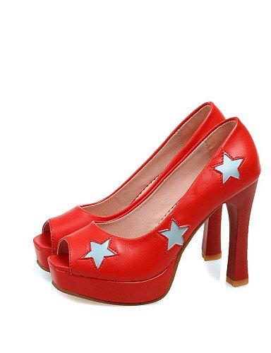 UWSZZ IL Sandali eleganti comfort Scarpe Donna-Sandali-Matrimonio / Formale / Serata e festa-Spuntate / Plateau-Quadrato-Finta pelle-Nero / Rosa / Rosso Red