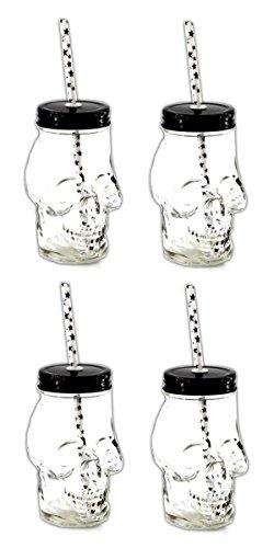 4x Totenkopf Trinkglas mit Deckel und Trinkhalm | Trinkbecher Schädel | Cocktail