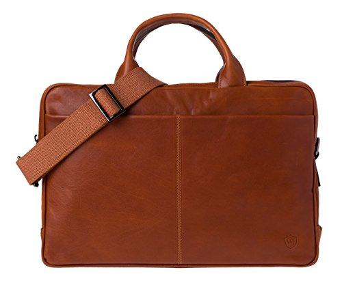 VON HEESEN Echtleder Aktentasche Laptoptasche bis 15,4 Zoll - MADE IN ITALY - Business-Tasche mit gepolstertem Laptopfach Ledertasche Umhängetasche Notebooktasche für Damen & Herren (Braun) Cognac-Braun
