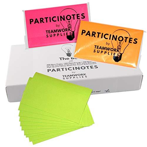 Neon Super Sticky Notes Set für Gruppenarbeit 127 x 76mm Für Professionellen Einsatz im Training, Coaching und Scrum Retrospektive 900 bunte Haftnotizen in Rot Grün Orange PARTICINOTES TheBOX