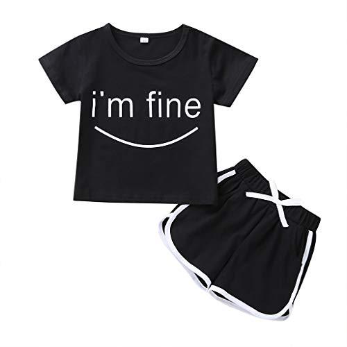 Kinder Mädchen Sportswear, Evansamp 2Pcs Kleinkind Kinder Baby Mädchen Jungen Outfits Set Ich Bin In Ordnung Brief T-Shirt Tops Shorts Hosen Kleidung Set(Schwarz,80)