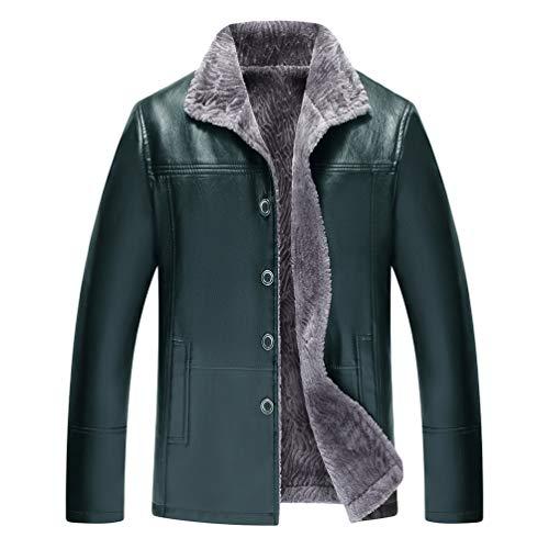 Wanyangg uomo giubbini in pelle pu invernali più velluto ispessimento caldo pelliccia foderato giacca risvolto monopetto giubbotto di mezza età casuale cappotto ecopelle parka outerwear 07verde58