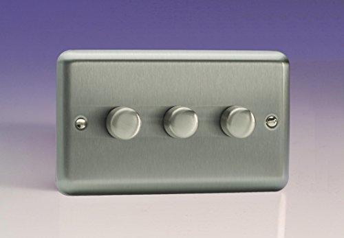 Varilight V-Dim 3-Gang 2-Way Rotary Dimmer Light Switch Push-On Twin 250W Chrome - EU/UK -