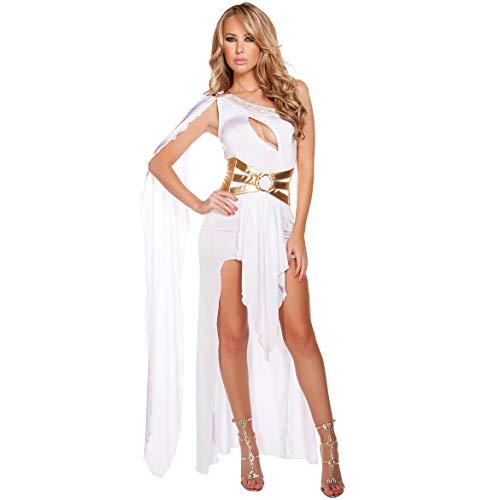 ween Kostüm Eine Schulter Sexy Griechische Göttin Kleid Night Club Prom Kleid,White ()