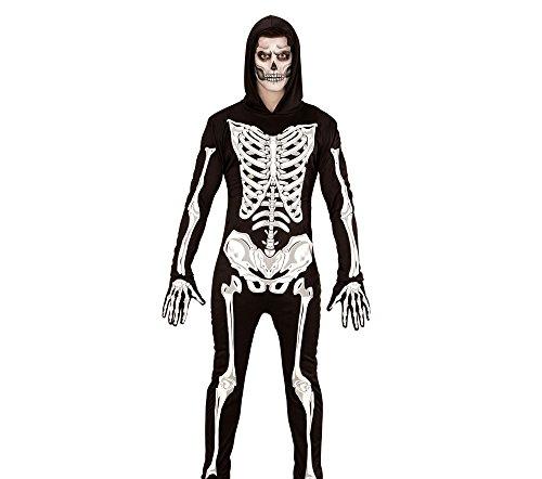 WIDMANN Disfraz Adulto de Esqueleto Glow in The Dark, Mono con Capucha y Guantes