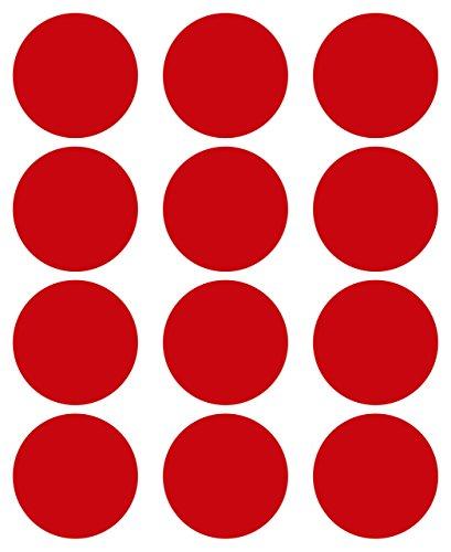 48adhesivos, 50mm, Rojo, Funda de PVC, resistente a la intemperie, LabelOcean círculos puntos Pegatinas